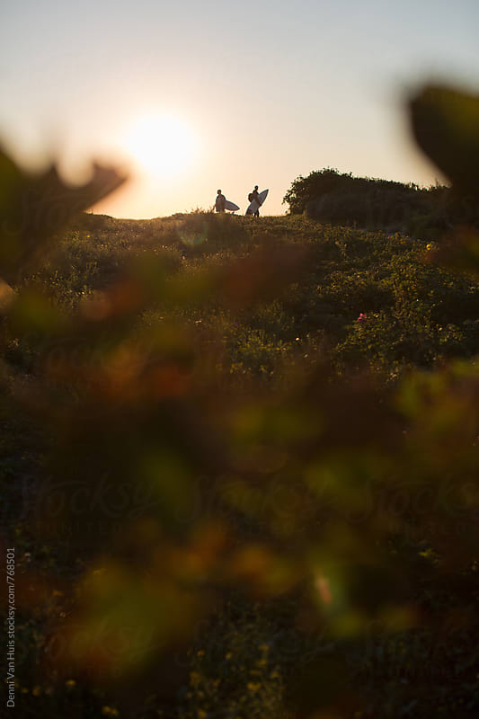 Silhouette of two friends hike through the dunes with surfboards in search of waves by Denni Van Huis for Stocksy United