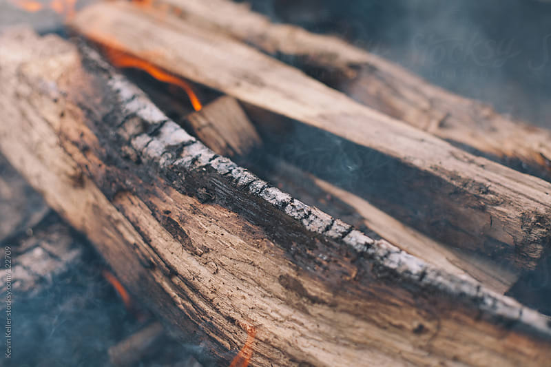 Closeup Shot of Logs Burning in a Campfire by Kevin Keller for Stocksy United