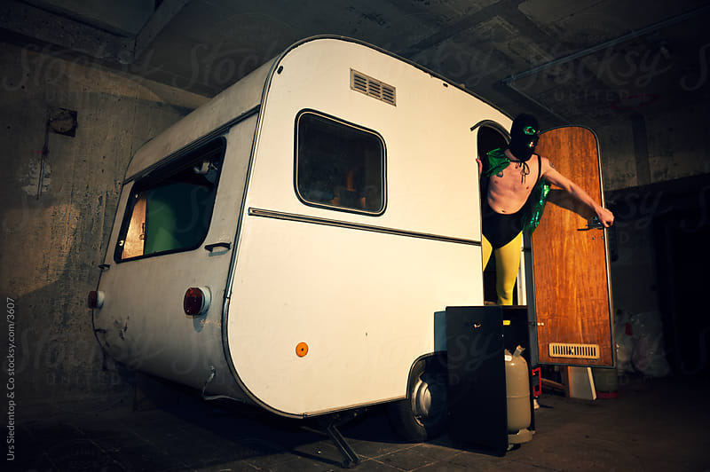 Wrestler stepping out of his trailer by Urs Siedentop & Co for Stocksy United