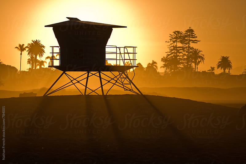 Lifeguard Tower Sunrise by Nathan French for Stocksy United