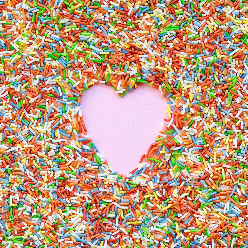 Heart made of colorful sprinkles by Pixel Stories for Stocksy United