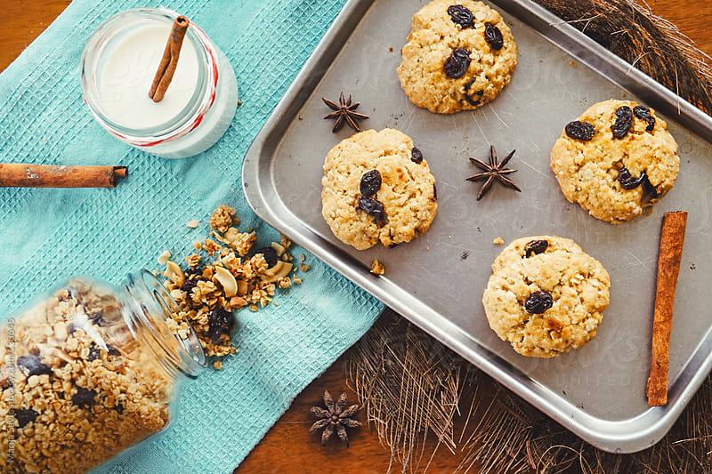 Baked oat cookies with milk and cinnamon. by Marija Savic for Stocksy United