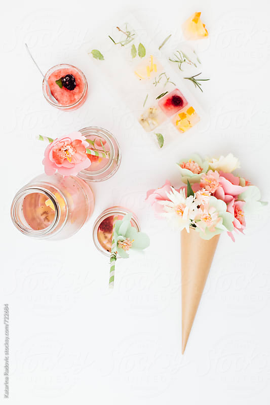 Pastel Arrangement With Ice Tea and Flowers by Katarina Radovic for Stocksy United