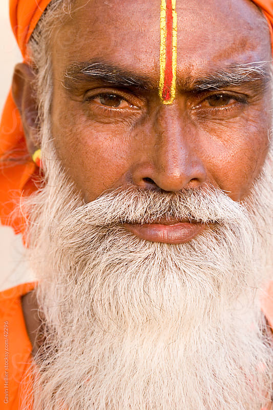 India, Rajasthan, Jaipur, portrait of a Holy man (Saddhu) in the old city area of Jaipur by Gavin Hellier for Stocksy United