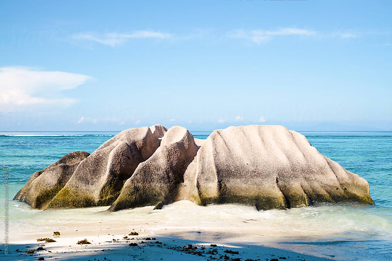 Famous granitic rock on the beach,  Anse Source D'Argent, LA Digue by michela ravasio for Stocksy United