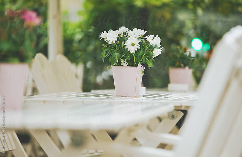 Flowers on tables at outdoor restaurant. by BONNINSTUDIO for Stocksy United