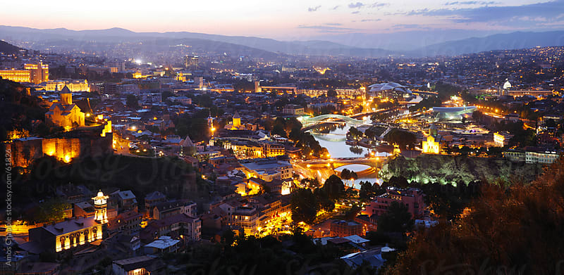 Panorama of Tbilisi at dusk.  by Amos Chapple for Stocksy United