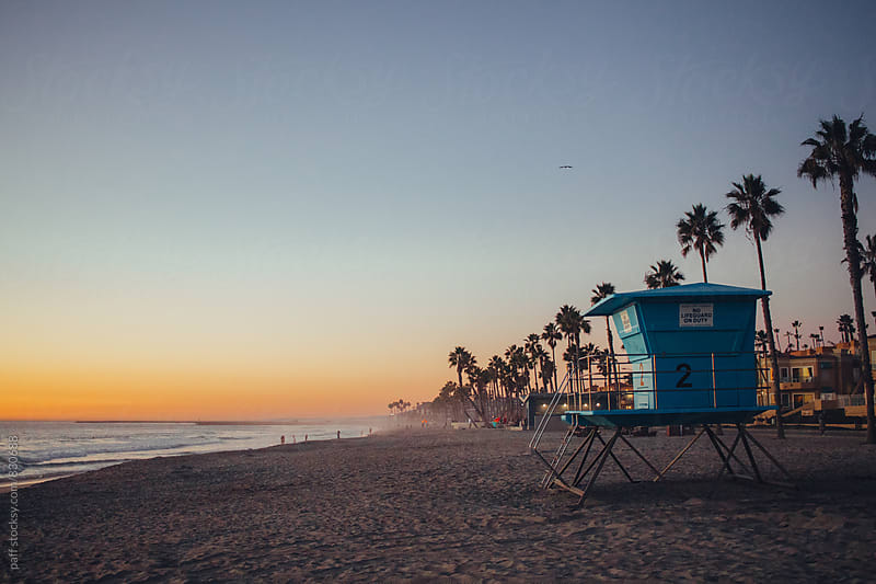 Lifeguard tower on a beach in California during sunset by paff for Stocksy United