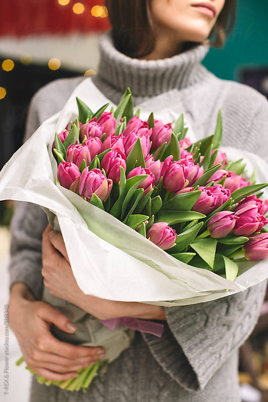 Amazing bouquet of bright pink tulips by T-REX & Flower for Stocksy United