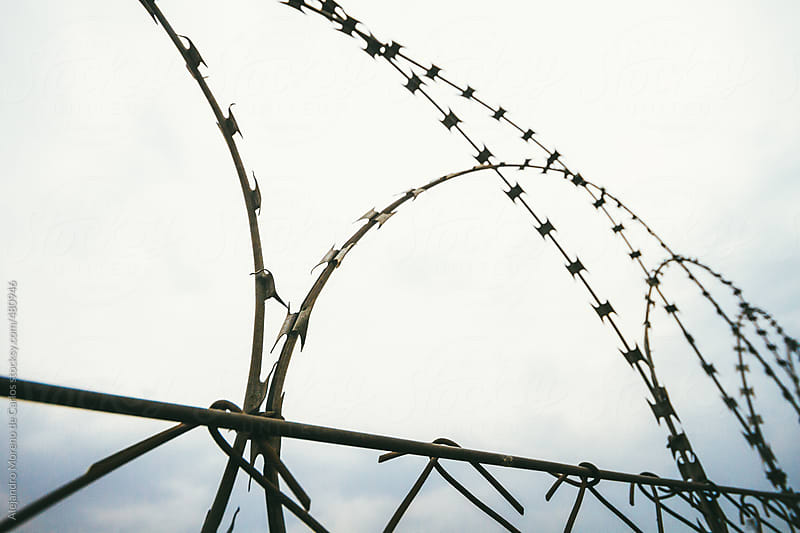 Barbed wire detail on a fence by Alejandro Moreno de Carlos for Stocksy United