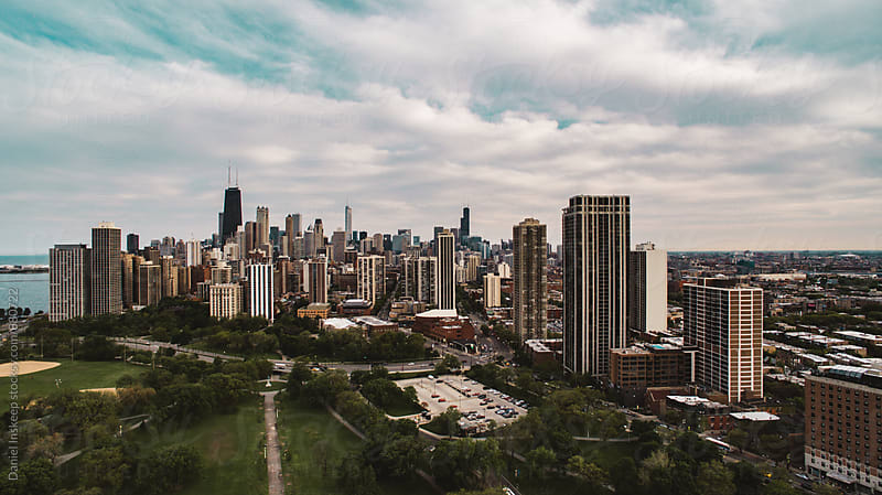 An Aerial Look at the Chicago Skyline from Lincoln Park by Daniel Inskeep for Stocksy United