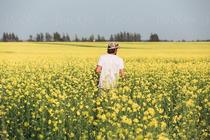 Person walking in farm field by Matthew Spaulding for Stocksy United