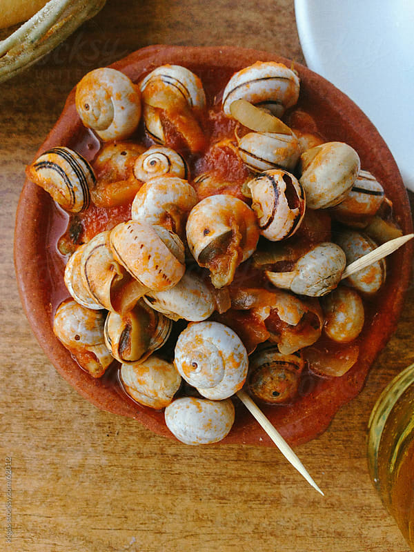 Snails in tomato and onion sauce. by kkgas for Stocksy United