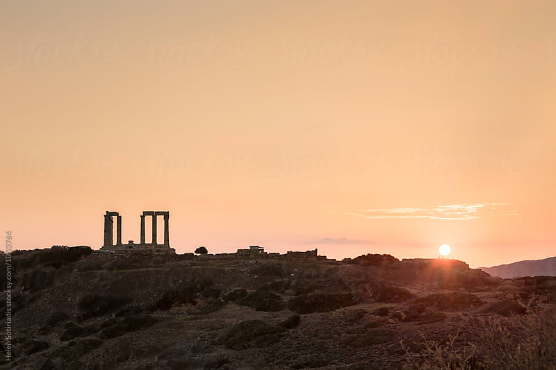 Ancient Greek Temple at Sunset by Helen Sotiriadis for Stocksy United