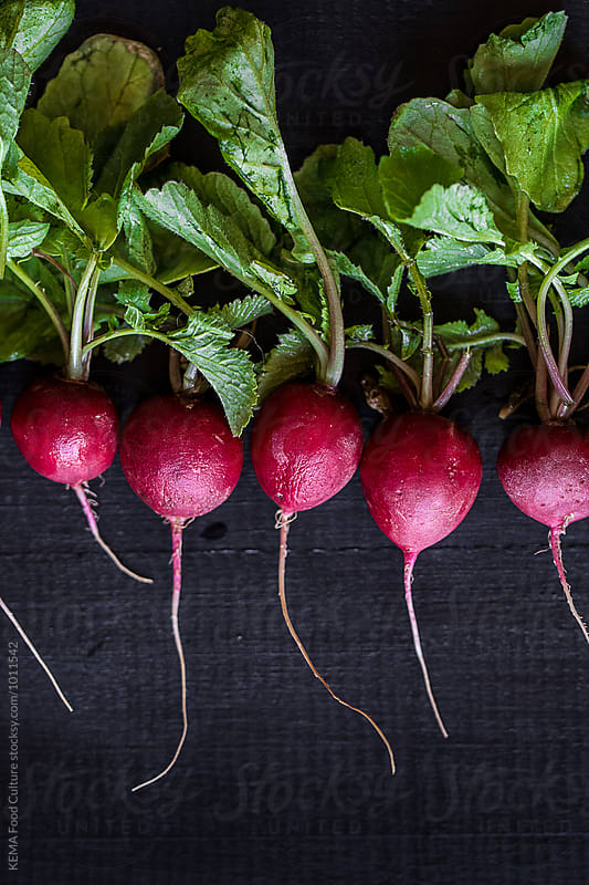 Radishes in line on a black wooden table by KEMA Food Culture for Stocksy United