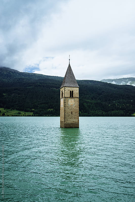 Steeple in the lake by J.R. PHOTOGRAPHY for Stocksy United