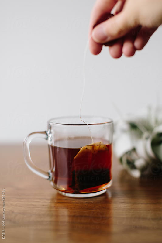 tea and tea bag in a clear mug by a white wall by KATIE + JOE for Stocksy United