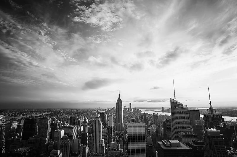 Black and white Manhattan traditional skyline by Simone Becchetti for Stocksy United