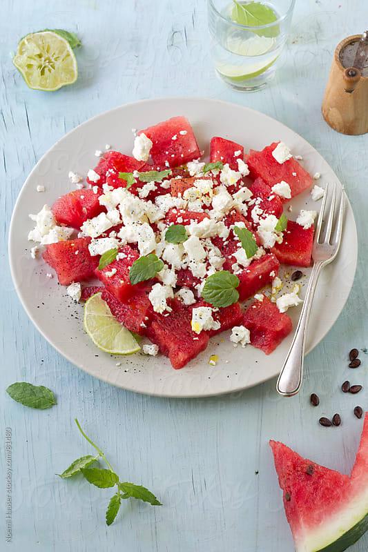 Watermelon-feta salad by Noemi Hauser for Stocksy United