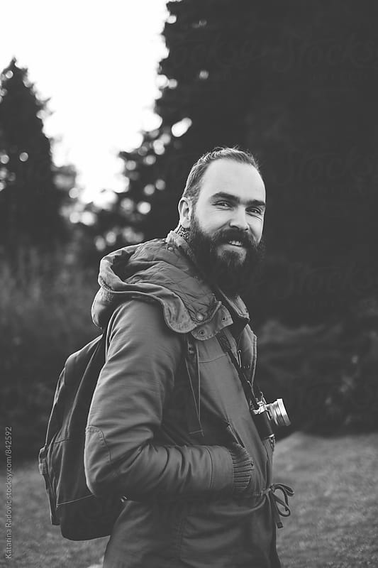 Black and White Portrait of a Handsome Bearded Man by Katarina Radovic for Stocksy United