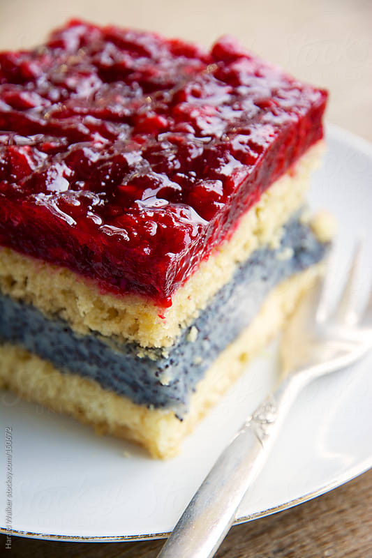 White Cake with Poppyseed Filling and Raspberry Topping by Harald Walker for Stocksy United