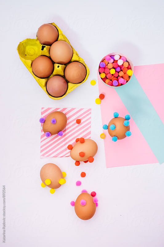 Colourful Easter Eggs Decorated With Pompons by Katarina Radovic for Stocksy United