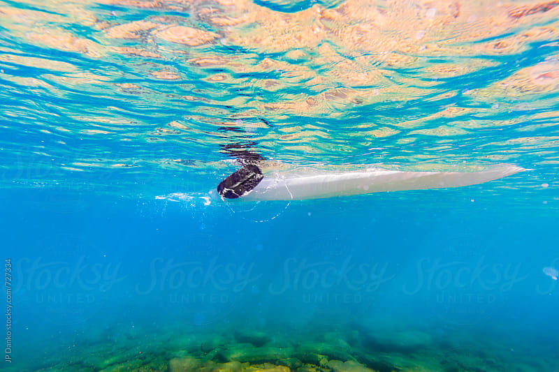 Underwater Photo of Kayak Paddling in Crystal Clear Blue Freshwater Lake at Family Cottage by JP Danko for Stocksy United