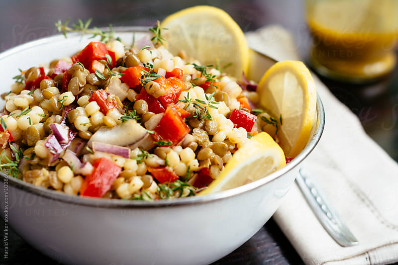 Lentil and Pearl Couscous Salad by Harald Walker for Stocksy United