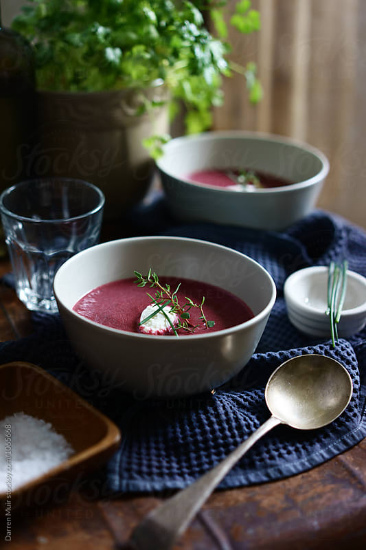 Beetroot soup: Two servings of beetroot soup. by Darren Muir for Stocksy United