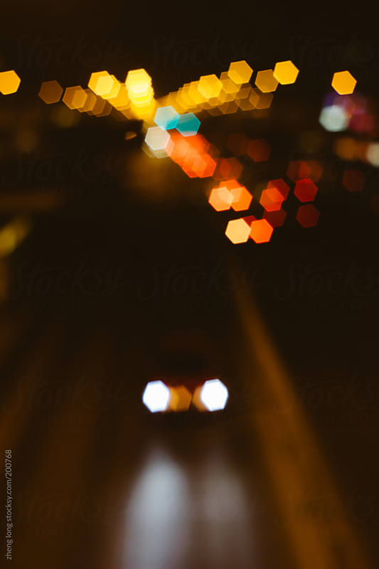 Abstract traffic in night by zheng long for Stocksy United