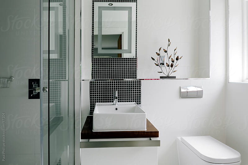 Interior of a modern bathroom  by Paul Phillips for Stocksy United