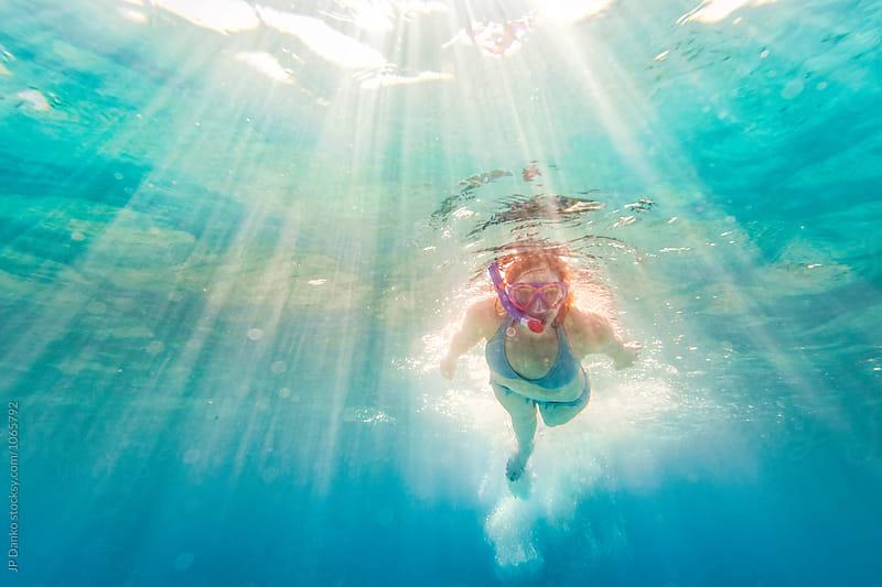Bikini Woman Swimming Underwater at All Inclusive Caribbean Resort White Sand Beach by JP Danko for Stocksy United