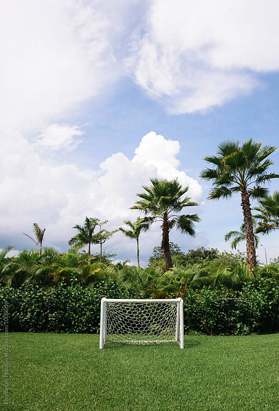 Mini size soccer goal found in a children's playground in Mexico by Emmanuel Hidalgo for Stocksy United