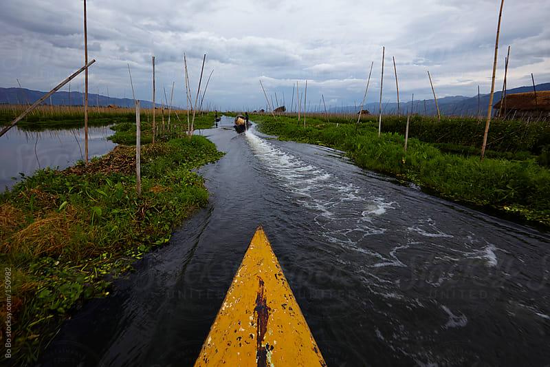 waterway in Inle lake of Myanmar by Bo Bo for Stocksy United