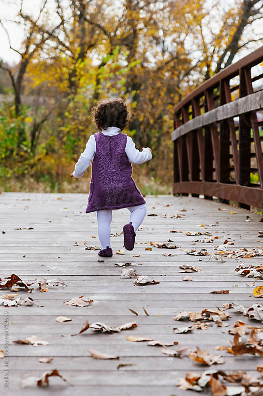 Biracial Toddler Girl Walks on Bridge Outdoors in Autumn  by Jani Bryson for Stocksy United