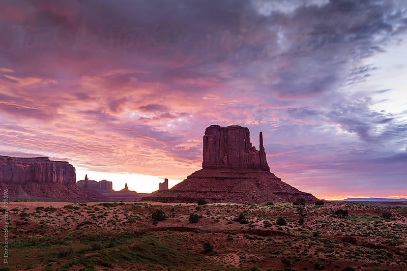 Colorful Desert Sunrise Landscape Over Monument Valley Utah USA by JP Danko for Stocksy United