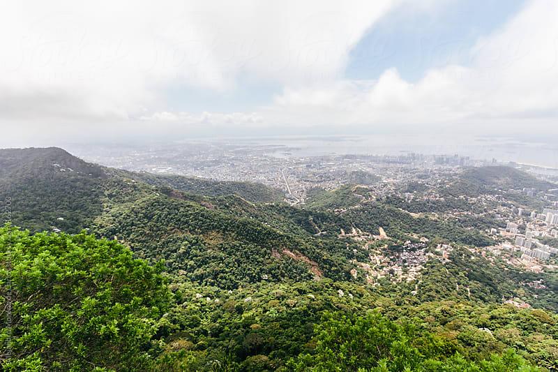 Rio de Janeiro city aerial view in Brazil from Corcovado mountain  by Alejandro Moreno de Carlos for Stocksy United