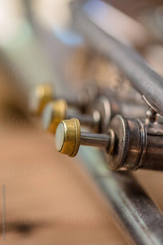 Close Up View of Trumpet Keys by suzanne clements for Stocksy United