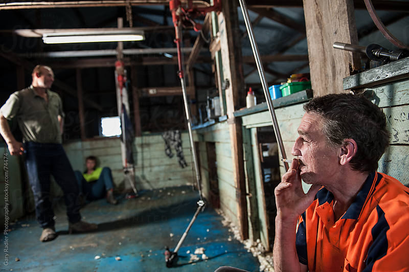 Shearers on a Smoko Break by Gary Radler Photography for Stocksy United