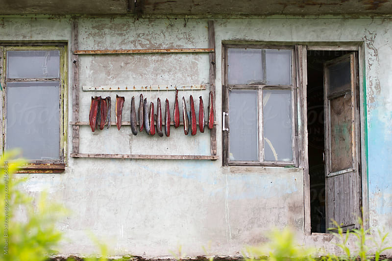 Salmon drying on string at a delipedated house by Mihael Blikshteyn for Stocksy United