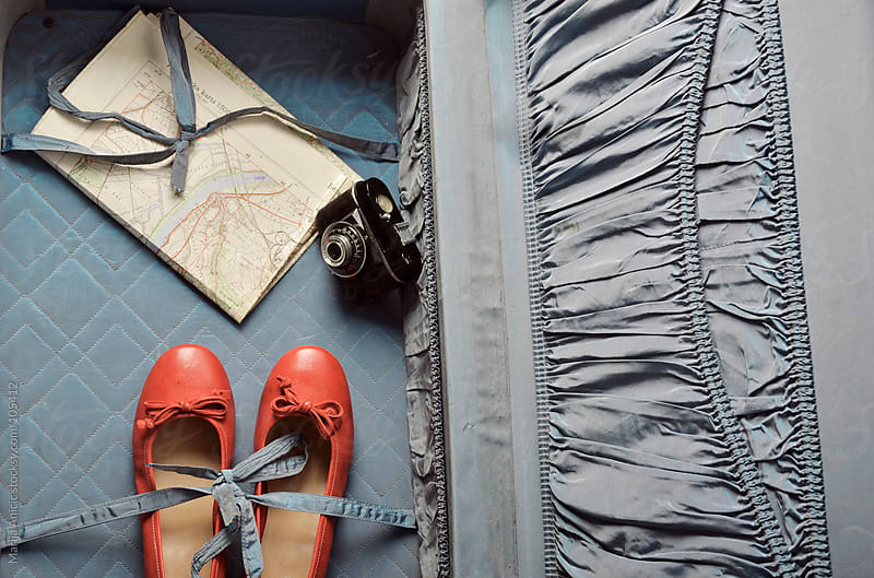old suitcase,flats,camera and map by Marija Anicic for Stocksy United