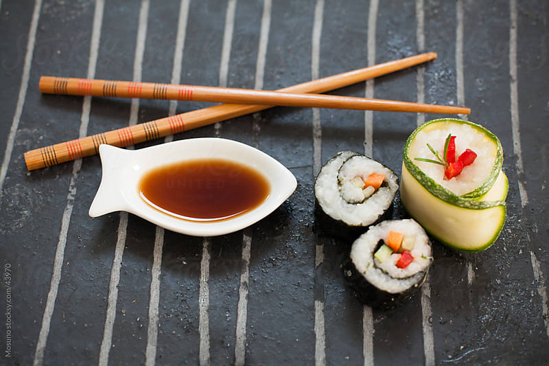 Sushi served on the plate.  by Mosuno for Stocksy United