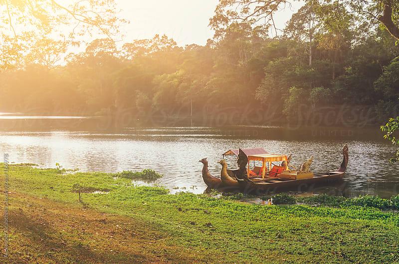 traditional angkor gondola boat  by Alexander Grabchilev for Stocksy United