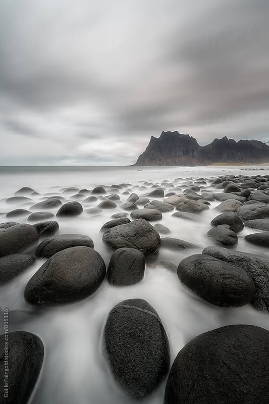 Long exposure picture in Utakleiv beach, Lofoten, Norway by Guille Faingold for Stocksy United