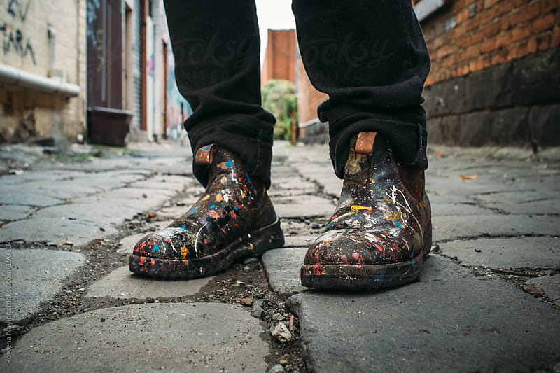 Melbourne Street Artist's painted boots by Rowena Naylor for Stocksy United