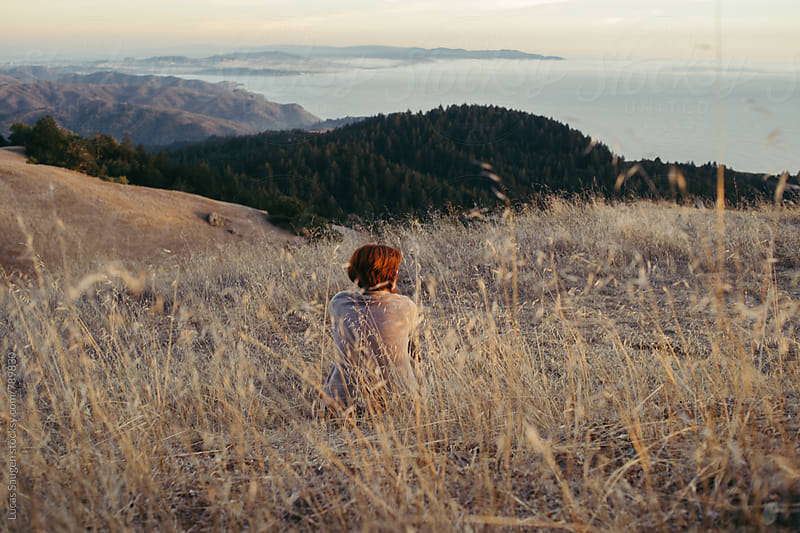 Looking out at San Francisco from on top of Mount Tamalpais by Lucas Saugen for Stocksy United