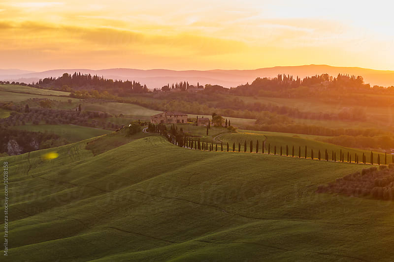 Beautiful tuscan house at sunset by Marilar Irastorza for Stocksy United