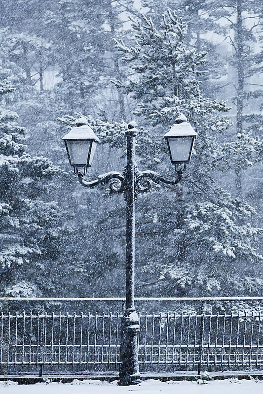 Old Street Lamp in a Snowy Day by VICTOR TORRES for Stocksy United