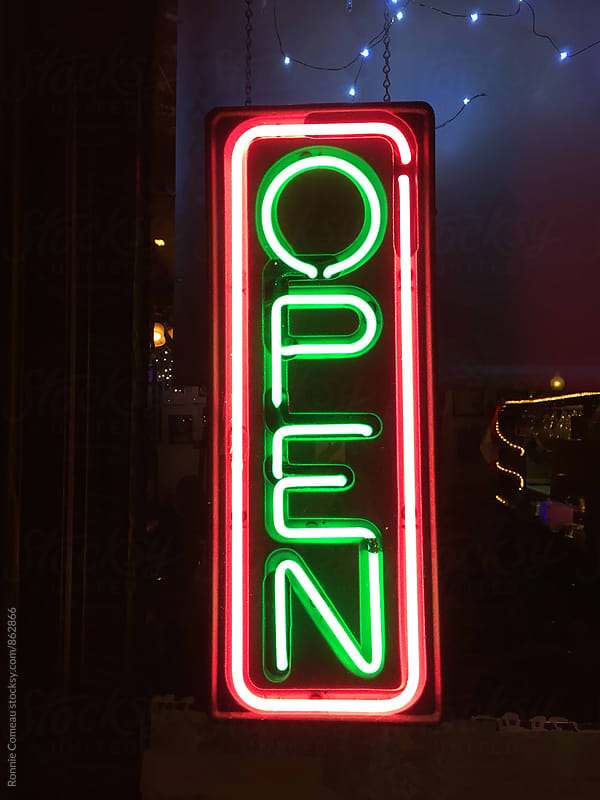 Neon Open Sign by Ronnie Comeau for Stocksy United