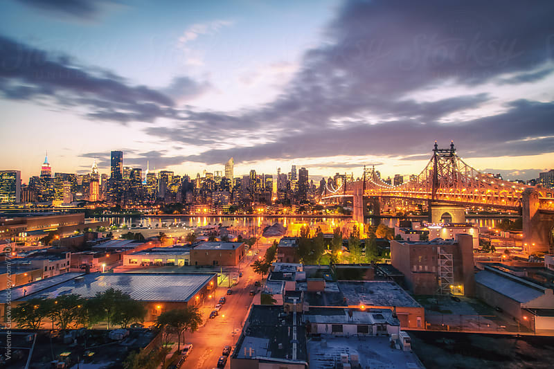 New York City Skyline - City Lights at Dusk by Vivienne Gucwa for Stocksy United